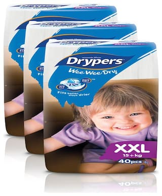 Drypers Wee Wee Dry XXL Sized Diapers,Combo Pack of 3,40 Counts Each (120 Counts) (Taped Diaper)