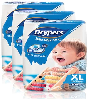 Drypers Wee Wee Dry Extra Large Size Diapers,Combo Pack of 3,50 Counts Each (150 Counts)(Taped Diaper)
