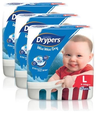 Drypers Wee Wee Dry Large Sized Diapers,Combo Pack of 3,62 Counts Each (186 Counts)(Taped Diaper)