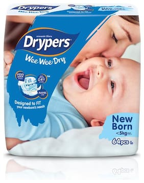 Drypers Wee Wee Dry New Born Sized Diapers (64 Counts)(Taped Diaper)
