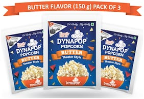 DYNAPOP Instant Popcorn Butter Flavor Theater Style 150g (Pack of 3)