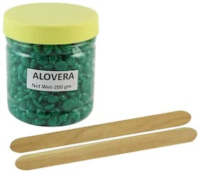 Ear Lobe & Accessories No Strip Aloe Vera Flavor Depilatory Wax Pearl Hair Removal Hot Wax Beans;200 g With 2 Wodden Stick