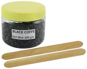 Ear Lobe & Accessories No Strip Black Coffee Flavour Depilatory Wax Pearl Hair Removal Hot-Wax Beans 100gm Free 2 Wooden Sticks
