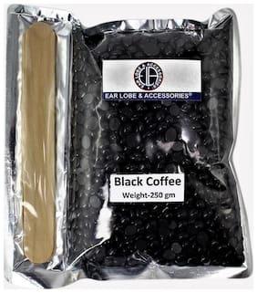 Ear Lobe & Accessories Black Coffee wax pearl Hair Remover Hot wax Beans 250grams with 2 wodden spatula
