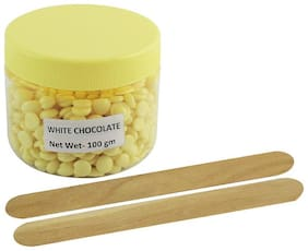Ear Lobe & Accessories No Strip White Chocolate Depilatory Pearl Hair Removal Hot Wax Beans 100gm Free 2 Wooden Stick
