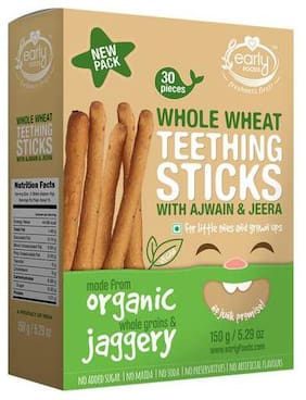 Early Foods Organic - Whole Wheat Ajwain Jaggery Teething Sticks 150 gm