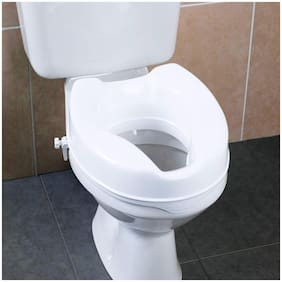 EASYCARE Toilet Seat with Extra Wide Opening - Toilet Commode Raiser with Safe Lock Adds 6 to Height of Toilet