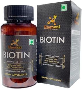 Element Lifesciences Biotin Enhanced Absorption with Black Pepper Extract, Calcium and Vitamin B7 10000mcg (90 Veg Capsules)