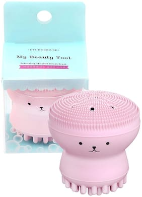 ELV Exfoliating and Massaging Jellyfish Silicone Facial Scrubber Brush (Pink)