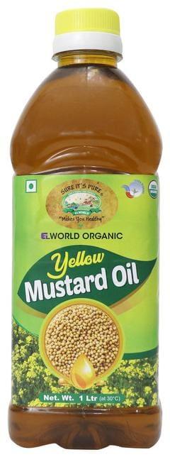 Elworld Agro & Organic Yellow Mustard Oil (Kachi Ghani) Cold Pressed- 1 L
