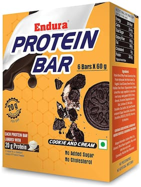 Endura Protein Bar - 20g Protein Per Bar High Protein No Added Sugar No Cholesterol Whey Protein Bar Energy Booster (Cookie and Cream 6 Bars X 60 g) (Pack of 1)