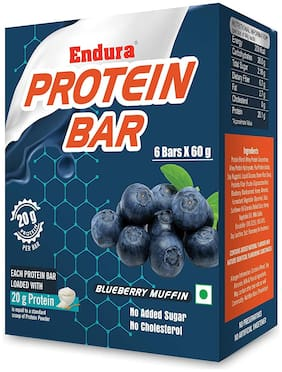 Endura Protein Bar - 20g Protein Per Bar High Protein No Added Sugar No Cholesterol Whey Protein Bar Energy Booster (Blueberry Muffin 6 Bars X 60 g) (Pack of 1)
