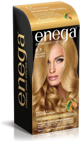 Enega Cream Hair Color with Argan Oil & Green Tea Extract Formula Smooth Care For Your Precious Hair Golden Blonde Pack of 1