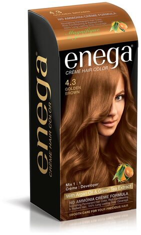 Enega Cream hair colorsuperior quality with Argan Oil & Green Tea extract NO AMMONIA Cream FORMULA smooth care for your precious hair! GOLDEN BROWN 4.3 (Pack of 3)