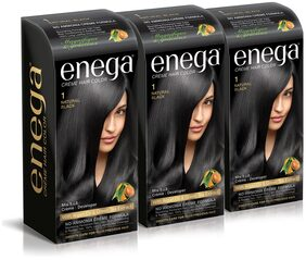 Enega Cream Hair Color Superior Quality With Argan Oil & Green Tea Extract-Natural Black 100 ml( Pack Of 3)