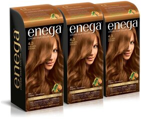 Enega Cream Hair Color Superior Quality With Argan Oil & Green Tea Extract-Golden Brown 100 ml( Pack Of 3)