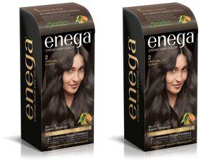 Enega Cream Hair Color Superior Quality With Argan Oil & Green Tea Extract-Original Black 100 ml( Pack Of 2)