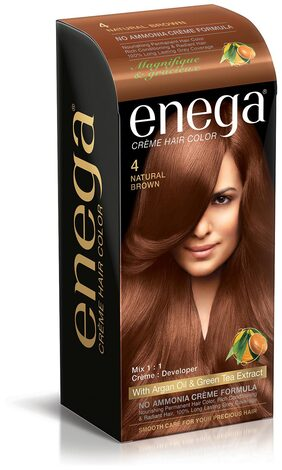 Enega Cream hair colorsuperior quality with Argan Oil & Green Tea extract NO AMMONIA Cream FORMULA smooth care for your precious hair! NATURAL BROWN 4 (Pack of 2)