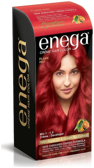 Enega Cream hair colorsuperior quality with Argan Oil & Green Tea extract smooth care for your precious hair! FLAME RED (Pack of 2)
