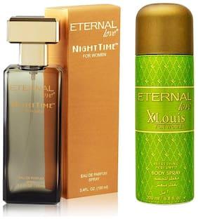 Eternal Love Eau De Parfum Women  100ml + Love Body Spray Xlouis Women  200ml (Pack of 2)