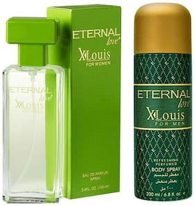 Eternal Love Eau De Parfum Xlouis Women  100ml + Love Body Spray Xlouis Men  200ml (Pack of 2)