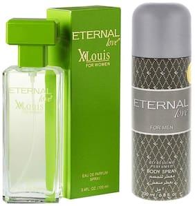 Eternal Love Eau De Parfum Xlouis Women  100ml + Love Body Spray Men  200ml (Pack of 2)