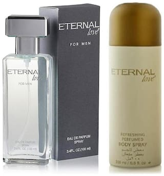 Eternal Love Eau De Parfum Men  100ml + Love Body Spray Women  200ml (Pack of 2)