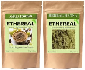 Ethereal Amla Powder and Organic Henna (100 g each) (Pack of 2)