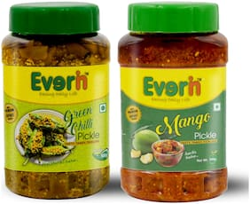 Everin Homemade Tasty Tangy and Ticklish Mango and Green Chilli Pickle Combo(500g Each)
