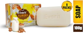 Everin Natural Detoxifying Cleansing Moisturizing Soap with Almond and Milk Extracts for All Skin Types (Pack of 8, 100g each)