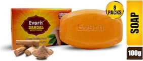 Everin Natural Detoxifying Cleansing Moisturizing Soap with Sandalwood Extracts for All Skin Types (Pack of 8, 100g each)