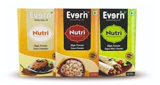 Everin Nutri High Protein and Healthy Soya Chunks 200gx2, Mini Chunks 200gx2 and Granules 200gx2 Combo (Pack of 6)