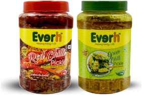 Everin Homemade Tasty Tangy and Ticklish Red Chilli and Green Chilli Pickle Combo (1KG Each)