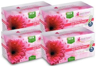 Everteen 100% Natural Cotton-Top Daily Panty Liners For Women - 4 Packs (36Pcs Each)
