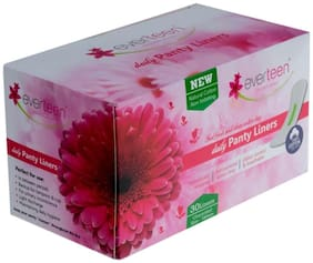 Everteen 100% Natural Cotton Daily Panty Liners (Box of 30pcs) Pantyliner (Pack of 1)