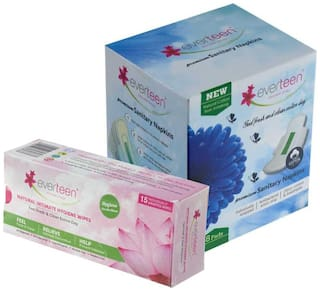 everteen - Combo Pack - Premium Sanitary Napkins (Large, 280mm) 8pcs and Intimate Wipes 15pcs for Women