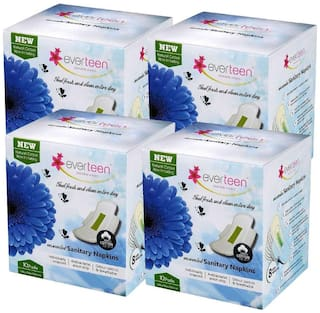 Everteen 100% natural Cotton unscented, ultra thin sanitary napkins 4X10 count