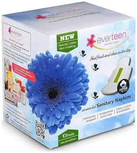 Everteen 100% Natural Cotton Ultrathin, Unscented Sanitary Napkins 10 count