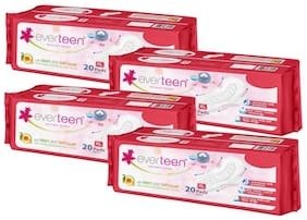 Everteen XL Sanitary Napkin Pads with Neem and Safflower, Cottony-Soft Top Layer for Women (Pack of 4)(20 Pads Each, 280mm)