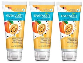 Everyuth Naturals Advanced Hydrating & Exfoliating Walnut Apricot Scrub With Hydrogel Technology 50G Pack Of 3