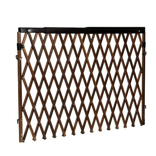 Expandable Swing Wide Gate Fence Baby Kids Child Pet Dog Safety Tan Wood Wide