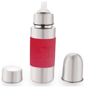 FALCON, Steel Baby Bottle Silver Red - 300 ml
