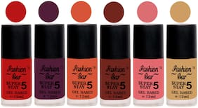 Fashion Bar Velvet Matte Gel Nail Polish -Multi colored (Pack of 6)(12ml Each) #18
