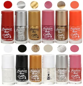 Fashion Bar Nail polish (Neon Red,Silver,Golden,Shimmer Pink,Copper,Neon OrangeWhite,black,Glitter Golden,Transperent,Glitter Silver,Pink)