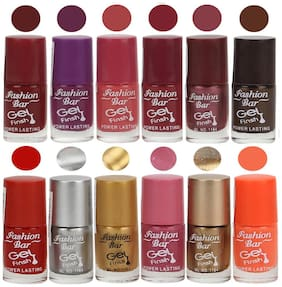 Fashion Bar Nail polish (Maroon,Purple,Pink,Mauve,Light Purple,Dark Brown,Neon Red,Silver,Golden,Shimmer Pink,Copper,Neon Orange)