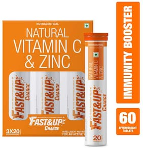 Fast&Up Charge with Natural Vitamin C and Zinc for Immunity - Orange - 60 Effervescent Tablets (300 g) Immunity/Immunity Booster