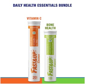 Fast&Up Daily Health Essentials for Immunity & Bone care (30 Effervescent Tablets)