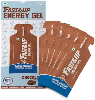 Fast&Up Vegan Sports Energy Gel for Instant Energy Drink (5x30g, Chocolate)