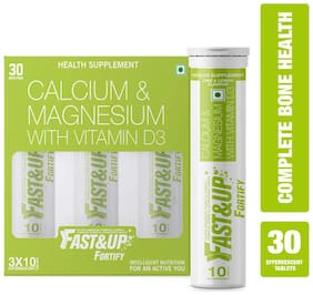 Fast&Up Fortify for Bone Health with Calcium, Vitamin D3, K, C - 30 Effervescent Tablets - Lime & Lemon