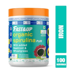 Fast&Up Organic Spirulina Plus Wheatgrass And Beetroot,Iron And Immunity,Plant Based Powder,Unflavoured